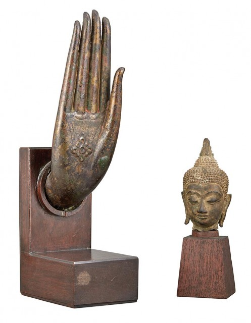 Thai Bronze Head of Buddha