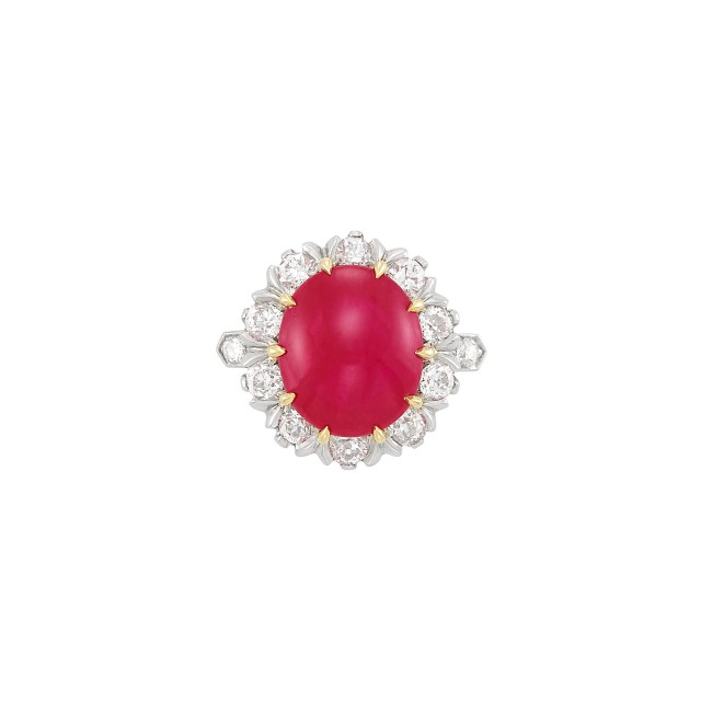 Gold, Platinum, Cabochon Ruby and Diamond Ring