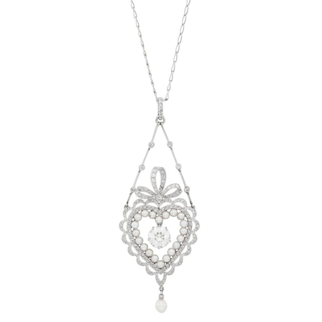 Belle Époque Platinum, Diamond and Pearl Heart Pendant-Necklace
