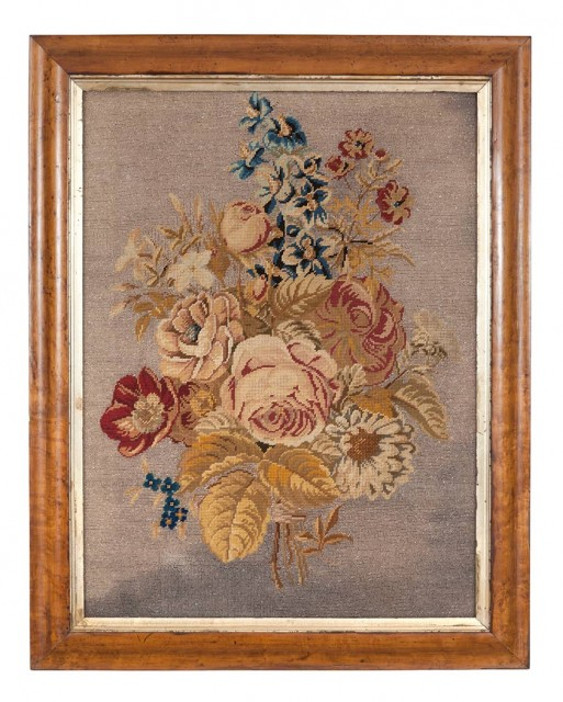 Victorian Needlework and Beadwork Floral Picture