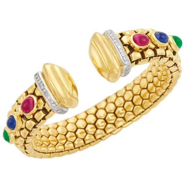 Gold, Cabochon Colored Stone and Diamond Bracelet