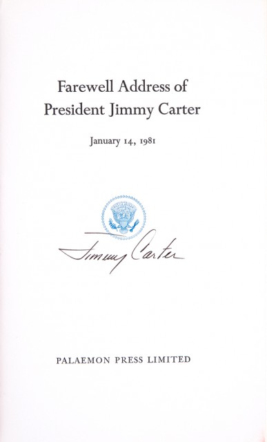 CARTER, JIMMY  Farewell Address of President Jimmy Carter.