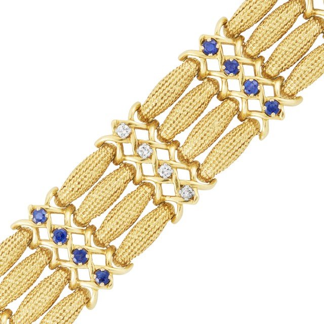 Gold, Sapphire and Diamond Bracelet