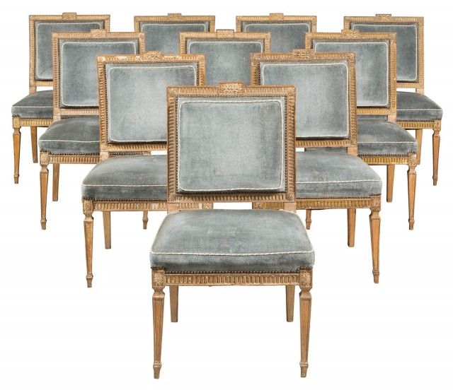 Set of Ten George III Beechwood and Parcel-Gilt Dining Chairs