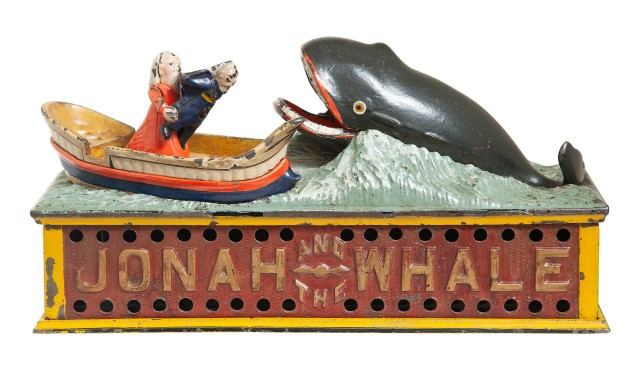 Jonah and the Whale Cast Iron Mechanical Bank
