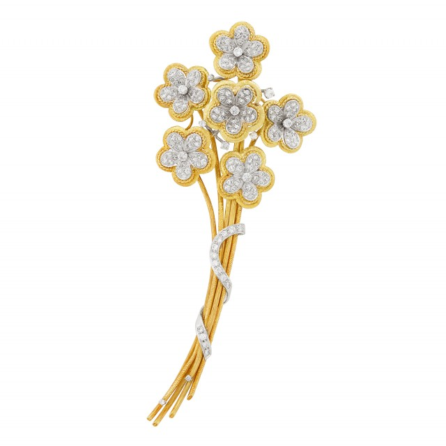Two-Color Gold and Diamond Bouquet Clip-Brooch