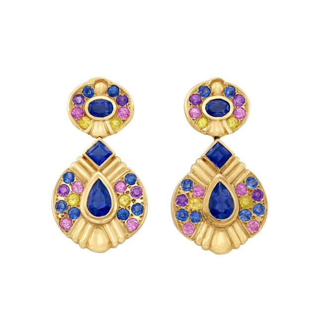 Pair of Gold, Tanzanite and Multicolored Sapphire Pendant-Earrings