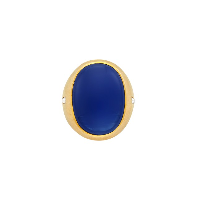 Gentleman's Gold and Cabochon Sapphire Ring