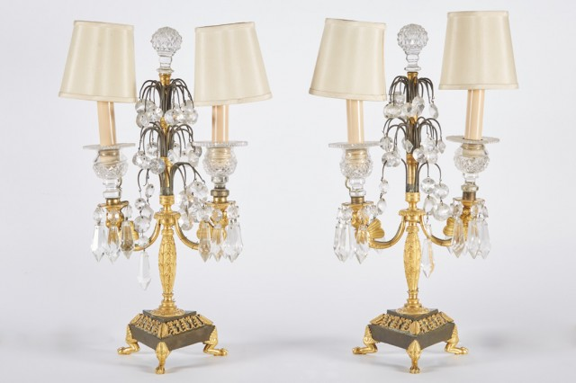Pair of Empire Style Gilt and Patinated-Bronze Two-Light Candelabra