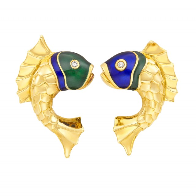Pair of Gold, Enamel and Diamond Fish Earclips, Judith Leiber