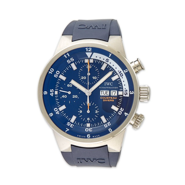 Stainless Steel and Wood Cousteau Divers 'Tribute to Calypso' Chronograph Wristwatch, International Watch Co.