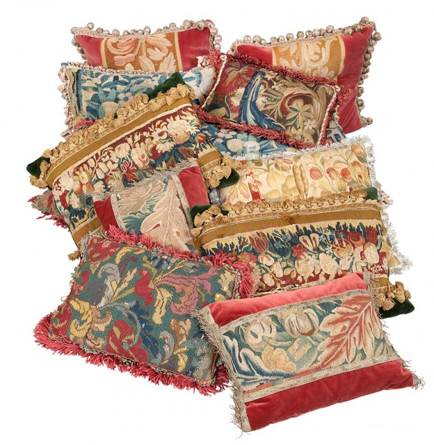 Group of Twelve Aubusson Tapestry and Needlework Pillows