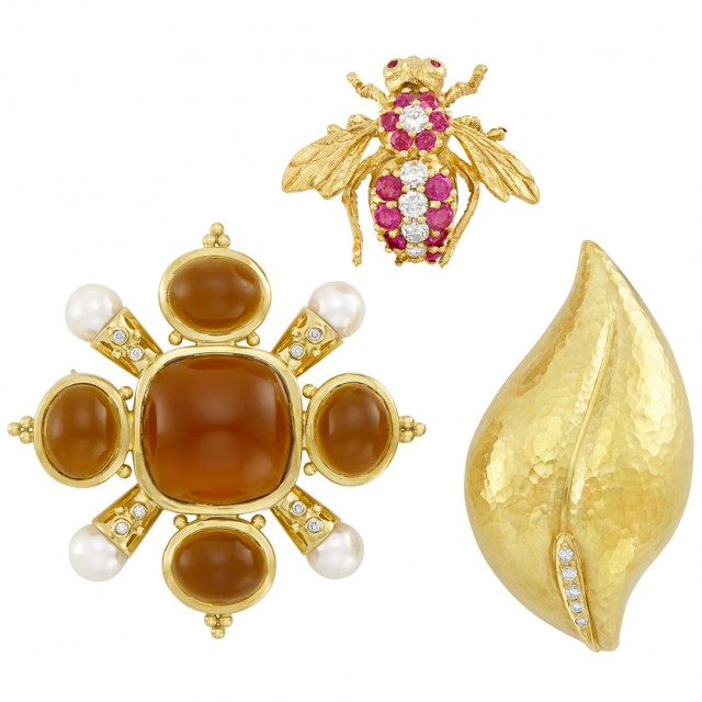 Group of Gold, Diamond and Colored Stone Brooches