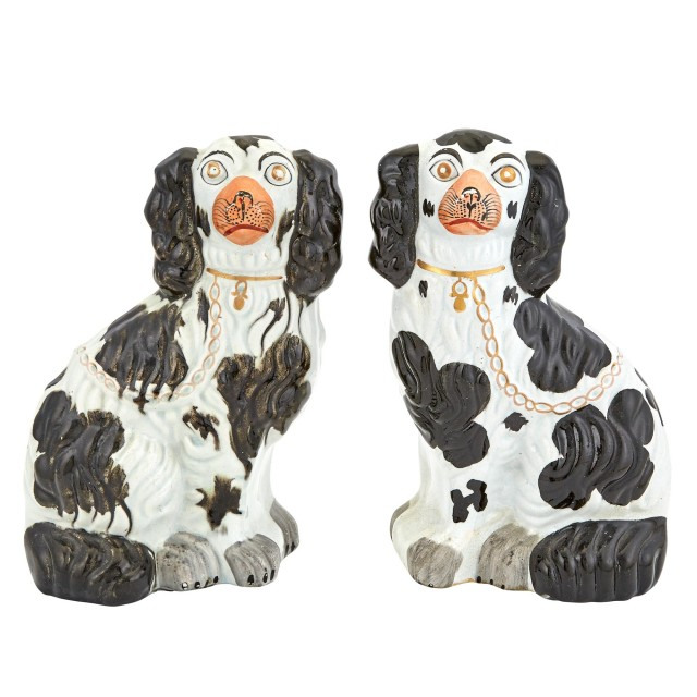 Pair of Staffordshire Pottery Spaniels