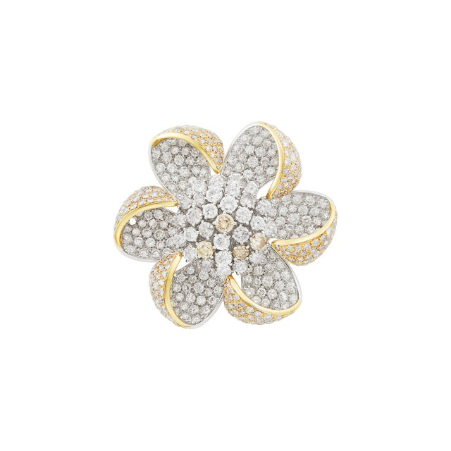 Two-Color Gold, Diamond and Colored Diamond Flower Clip-Brooch