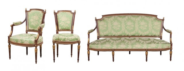 Salon Suite of Seven Louis XVI Style Upholstered Mahogany and Caned