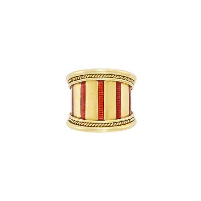 Wide Gold and Red Enamel Band Ring, Elizabeth Gage
