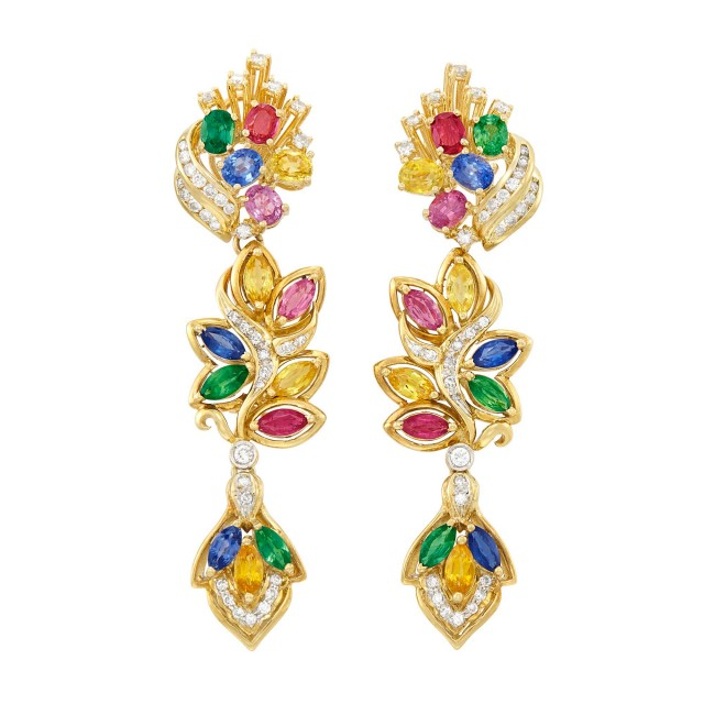 Pair of Gold, Multicolored Sapphire and Diamond Pendant-Earrings