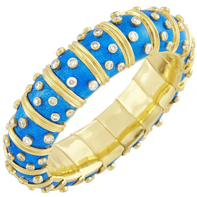 Gold, Blue Paillonné Enamel and Diamond Bangle Bracelet, Tiffany & Co., Schlumberger, France