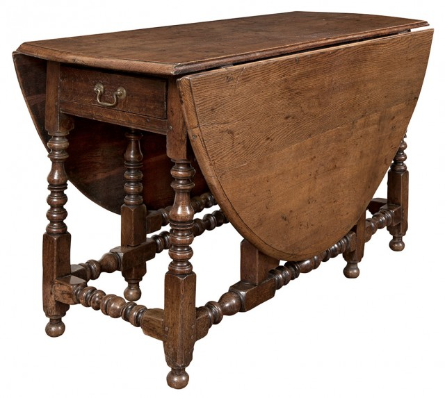 William and Mary Oak Drop-Leaf Table
