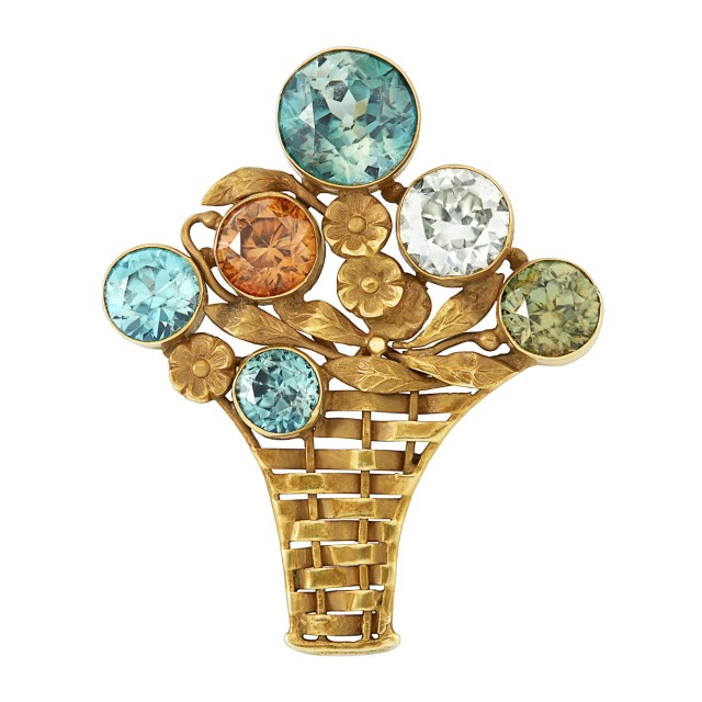 Antique Gold and Zircon Brooch