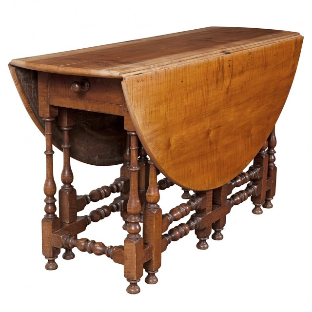 American William and Mary Figured Maple Drop-Leaf Table