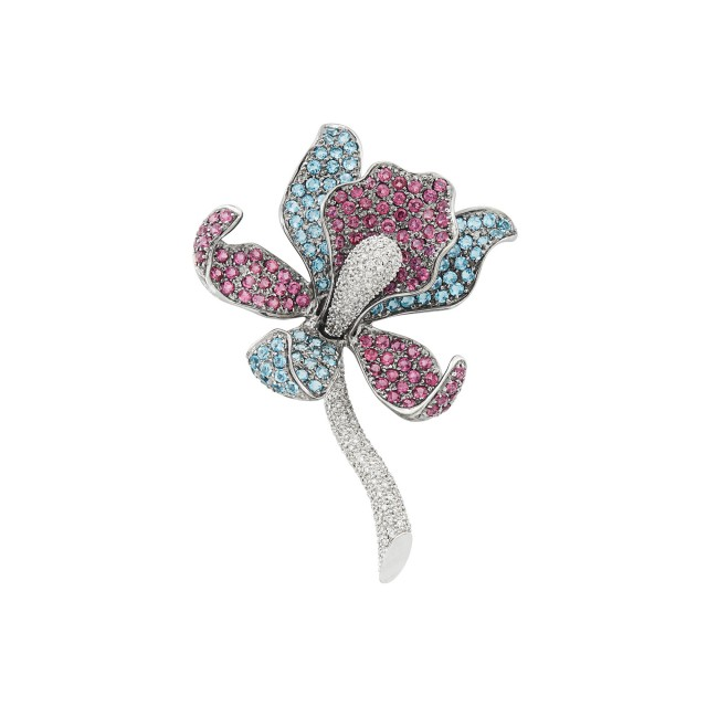 Blackened and White Gold, Garnet, Blue Topaz and Diamond Orchid Brooch