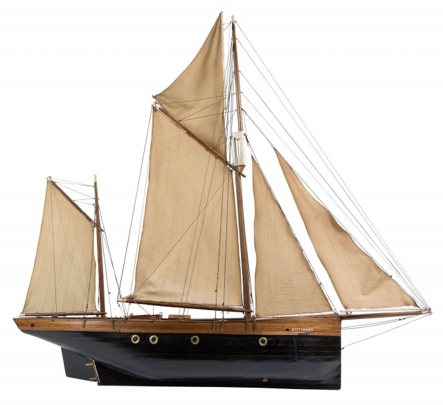 Carved and Painted Sailboat Model of the Kittiwake