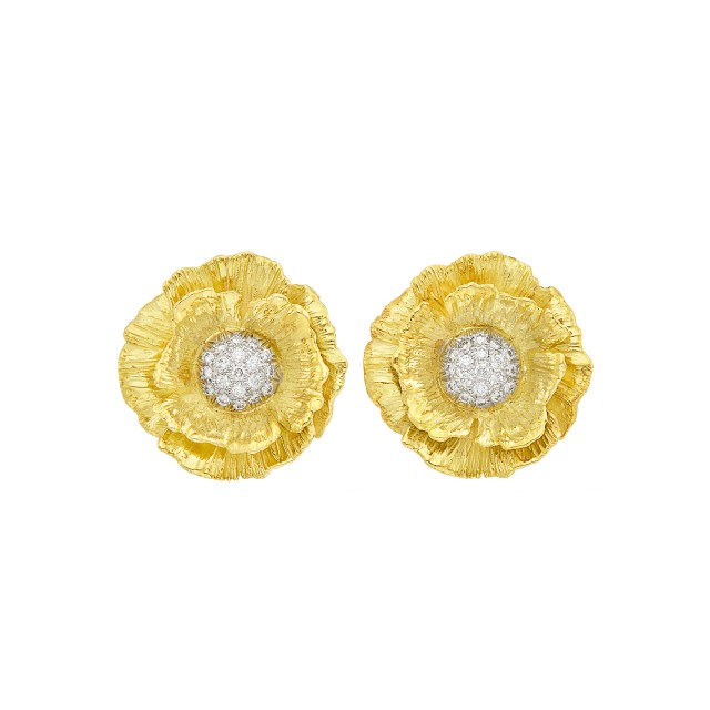 Pair of Two-Color Gold and Diamond Flower Earclips, Mish
