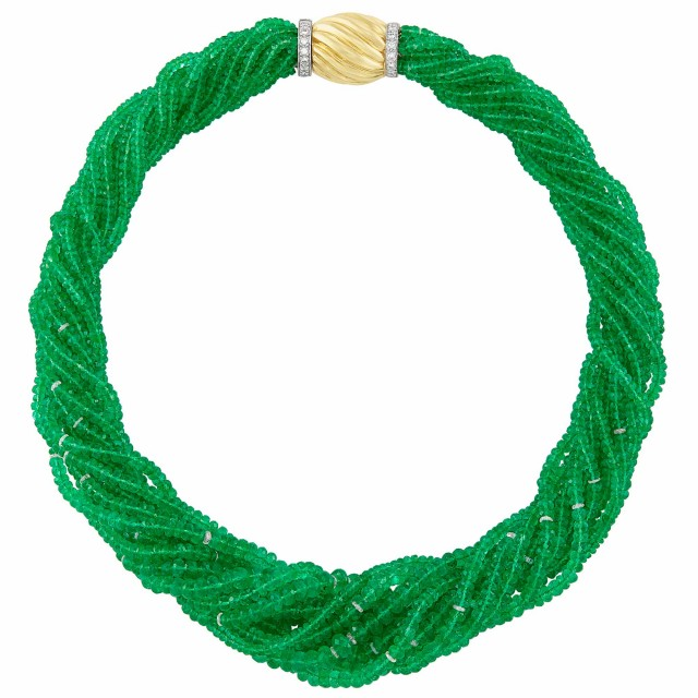 Multistrand Emerald and Diamond Rondel Torsade Necklace with Two-Color Gold and Diamond Clasp