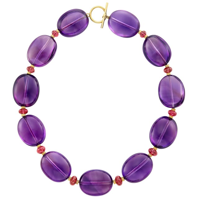 Gold, Amethyst and Pink Tourmaline Necklace