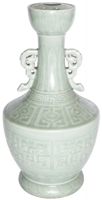 A Fine Chinese Celadon Glazed Twin-Handed Lotus