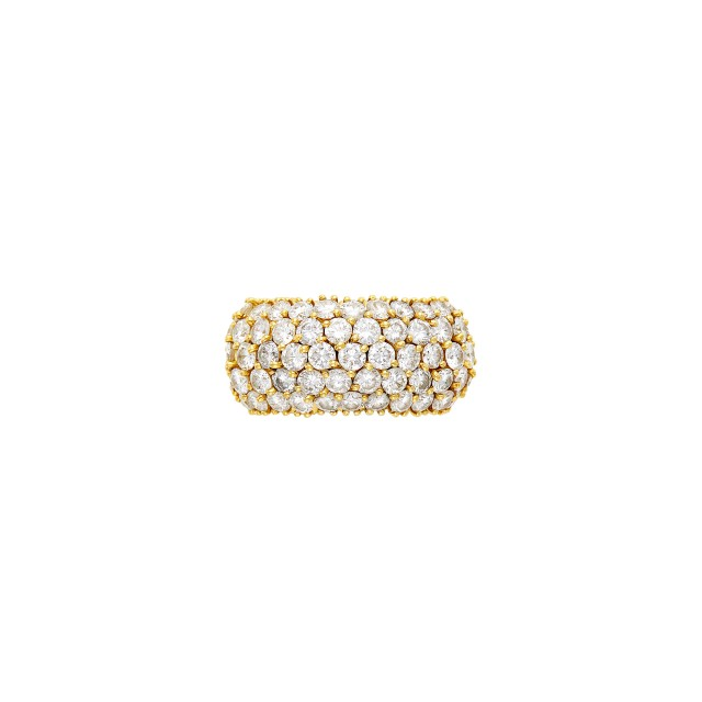 Flexible Wide Gold and Diamond Band Ring