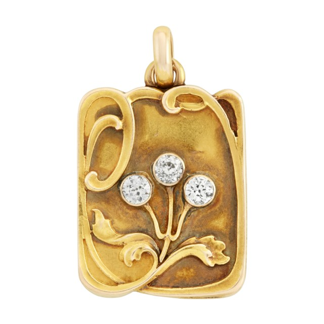 Art Nouveau Gold and Diamond Locket