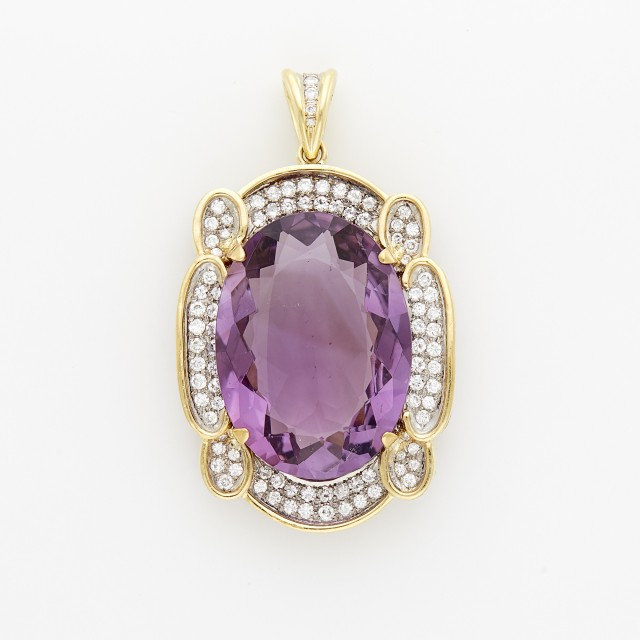 Two-Color Gold, Amethyst and Diamond Pendant