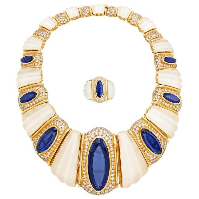 Gold, Frosted Rock Crystal, Synthetic Sapphire and Cubic Zirconia Necklace and Ring