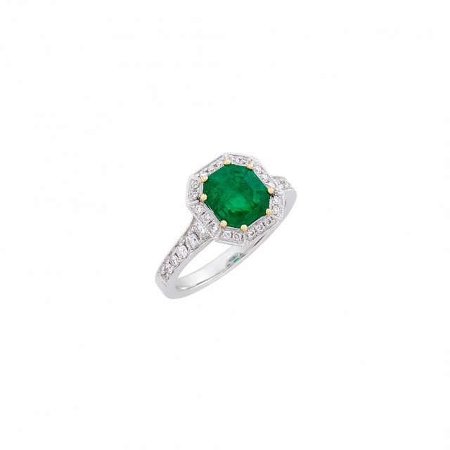 Two-Color Gold, Emerald and Diamond Ring