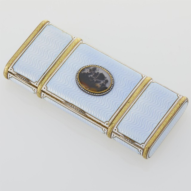 Russian Gold, Silver-Gilt, Guilloché and Champlevé Enamel and Moss Agate Vanity Case