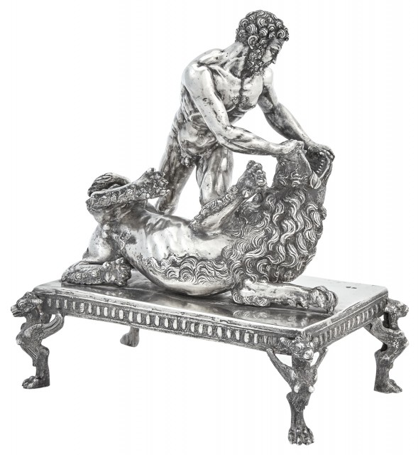 Italian Silver Figure of Hercules and the Lion