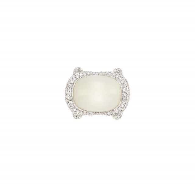 White Gold, Moonstone and Diamond Ring