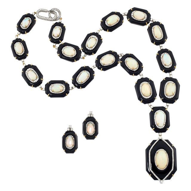 Gold, Silver, Black Onyx, Opal and Diamond Pendant-Necklace and Pair of Pendant-Earrings