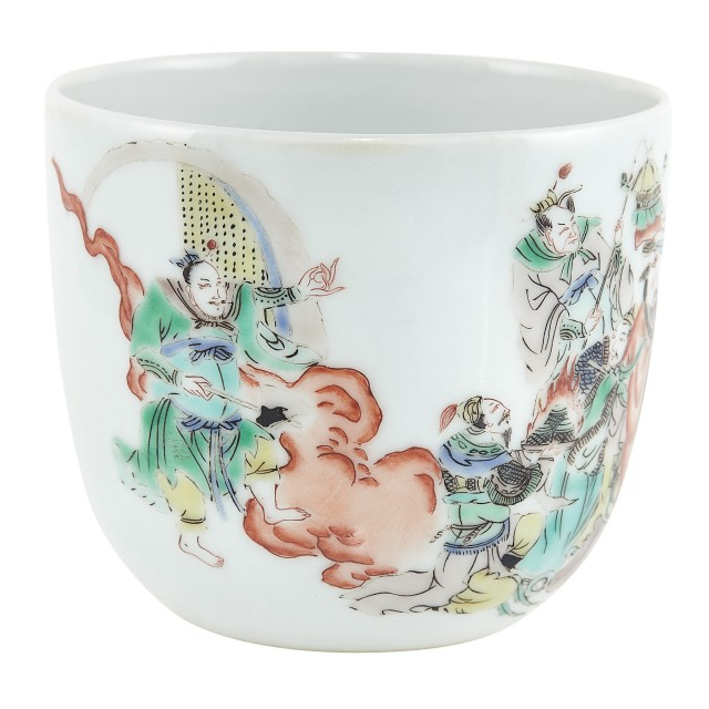 Chinese Famille Verte Glazed Porcelain Cup