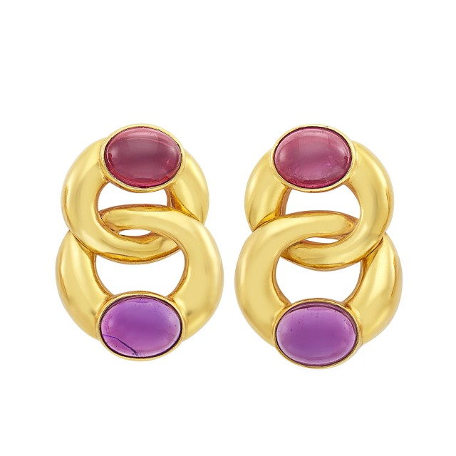 Pair of Gold, Cabochon Amethyst and Pink Tourmaline Earclips