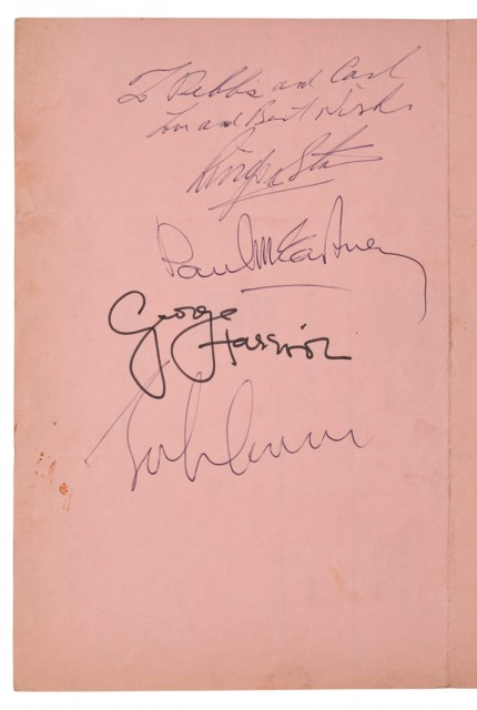 [THE BEATLES]  Ed Sullivan Show cue sheet for the Beatles 12 September 1965 broadcast, signed by each member of the group.