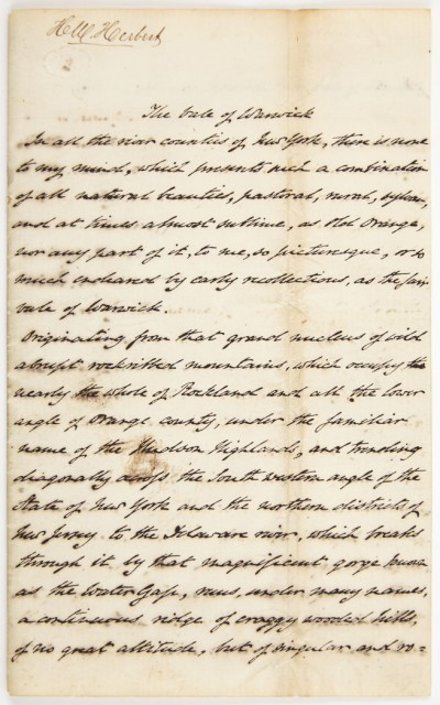 FORESTER, FRANK [=HERBERT, HENRY WILLIAM]  Autograph manuscript
