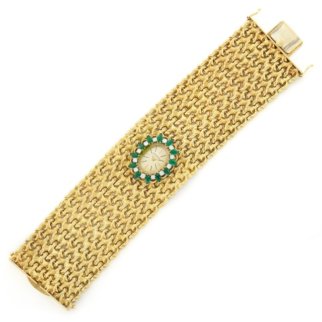 Wide Gold, Simulated Emerald and Diamond Bracelet-Watch