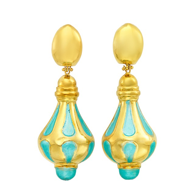 Pair of Gold and Turquoise Enamel Pendant-Earrings