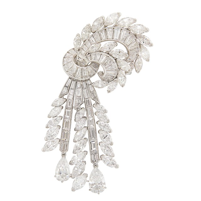 Platinum and Diamond Spray Clip-Brooch, Van Cleef & Arpels