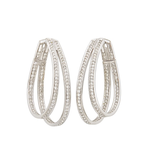 Pair of White Gold and Diamond Hoop Earrings