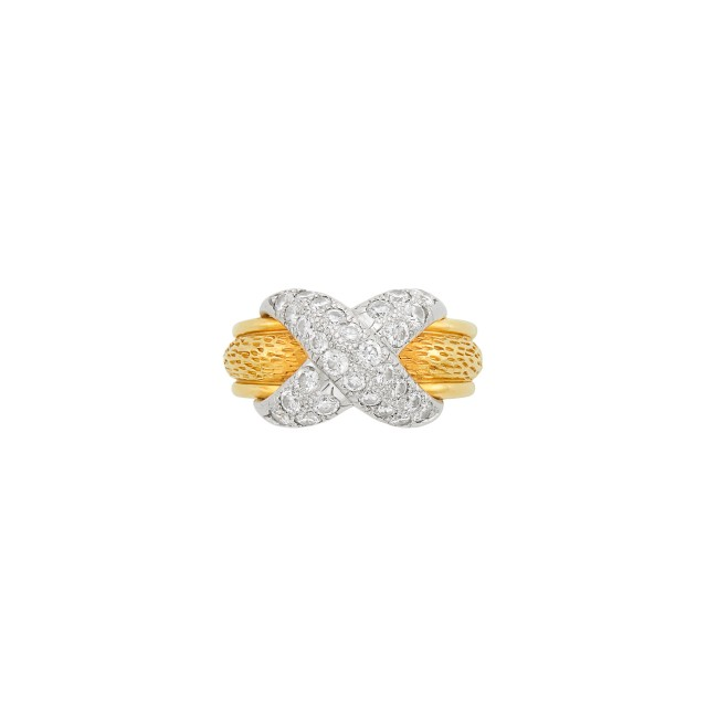 Gold, Platinum and Diamond Band Ring, Tiffany and Co., Schlumberger